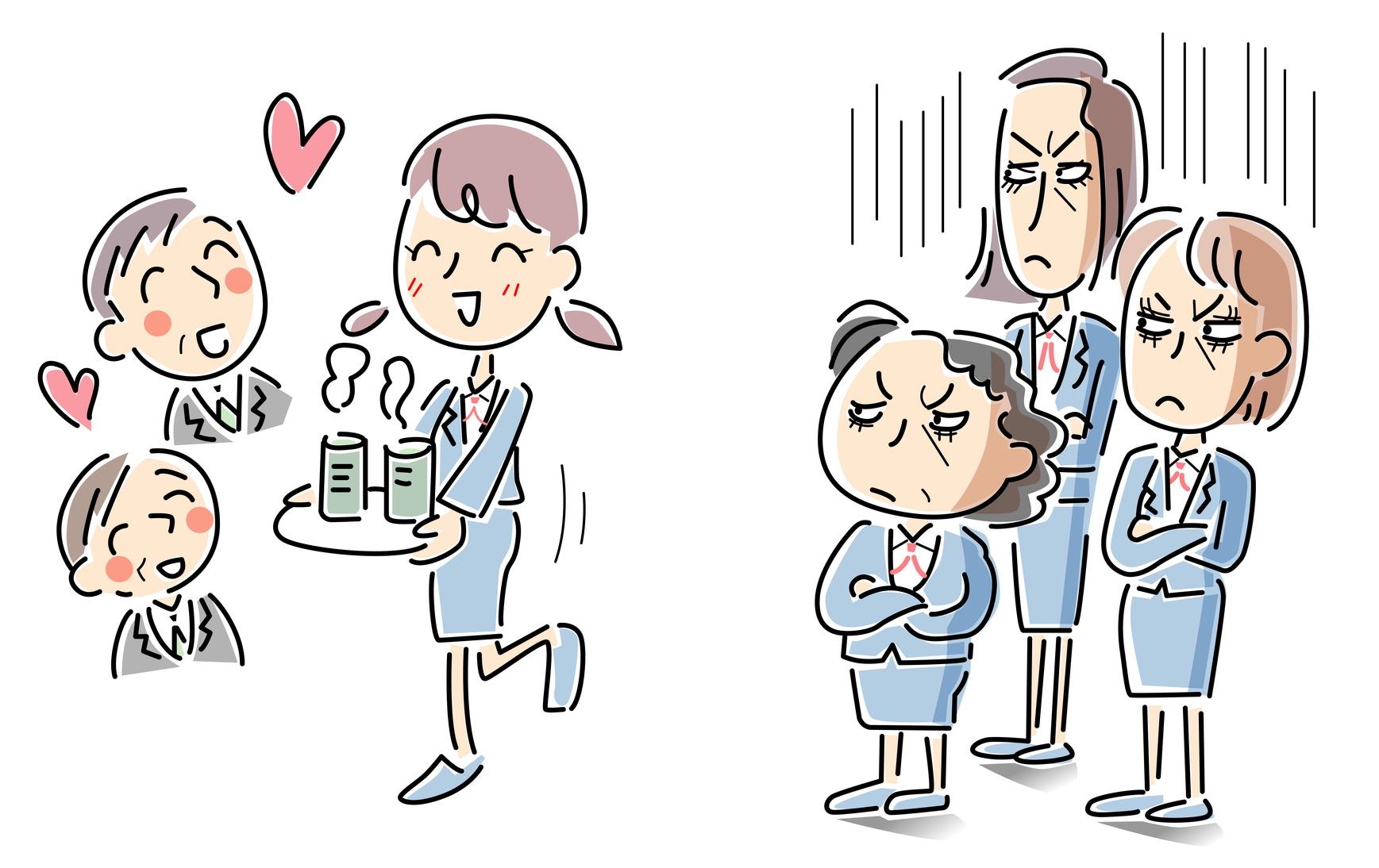 モテる新人と嫉妬する女性社員
