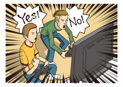 友人とオンラインゲームをする男性