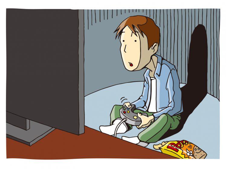 オンラインゲームをやる男性 イラスト