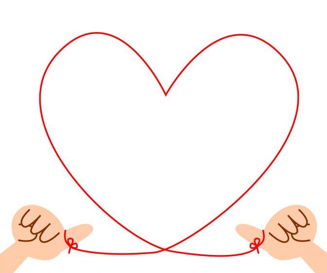 相性がいい様子 赤い糸でハートを描く